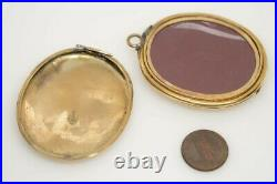 HEAVY LARGE ANTIQUE VICTORIAN ENGLISH 9K GOLD B&F DOUBLE SIDED LOCKET c1860