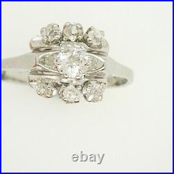 Italian Vintage 18ct White Gold Cluster Set With 7 Victorian Cut Diamonds
