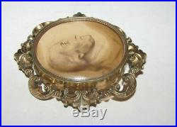 LARGE ANTIQUE VICTORIAN GOLD PLATED George Washington Brooch Pendant