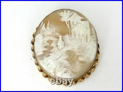 LARGE Antique Victorian Gold Filled Scenic Natural Cameo Pin Pendant 32.6g B3