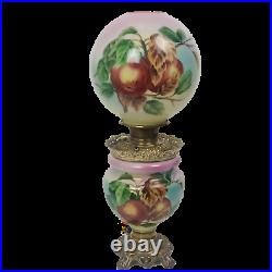 LARGE GWTW Oil Lamp BH Victorian Parlor Hand Painted Hurricane 26 Antique