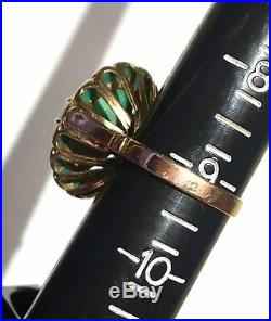 LARGE RaRe GREEN UNtreated Turquoise Halo14k gold antique Victorian ring