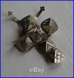 LARGE VICTORIAN ANTIQUE 9ct GOLD SILVER LONG ARM SQUID MASONIC BALL FOB 11.8gm