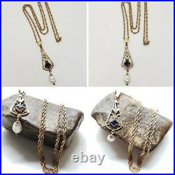 LARGE Victorian 12K Yellow Gold Filled Lavaliere Necklace Blue Sapphire Glass 5G