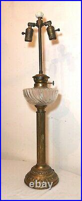 LARGE antique ornate 1800's brass ribbed glass electrified oil table parlor lamp