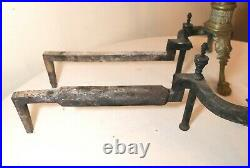 LARGE pair of antique ornate Victorian lion claw brass iron fireplace andirons