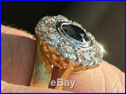 Large 18ct Gold Victorian Diamond and Sapphire Ring (M) 1.50 caret Dia