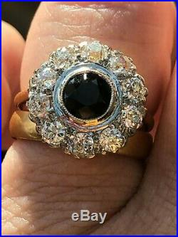 Large 18ct Gold Victorian Diamond and Sapphire Ring (N) 1.50 carat Dia