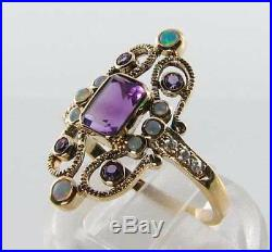 Large 9ct Gold African Amethyst Opal & Diamond Art Deco Ins Ring Free Resize