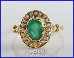 Large 9ct Gold Emerald & Seed Pearl Victorian Ins Ring Free Resize