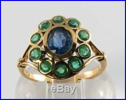 Large 9ct Gold Sapphire Emerald Victorian Insp Cluster Ring Free Resize