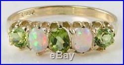 Large 9ct Gold Victorian Ins African Peridot & Aus Opal Half Eternity Ring