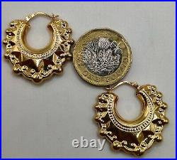 Large 9ct Yellow Gold Victorian Style Design Spiked Ladies Creole Hoop Earrings