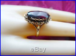 Large 9ct gold Garnet ring size M / N Oval Vintage Victorian style 375