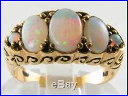 Large 9k 9ct Gold Fiery Opal 5 Stone Victorian Ins Ring Free Resize