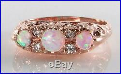 Large 9k 9ct Rose Gold Victorian Ins Opal & Diamond Ring Free Size