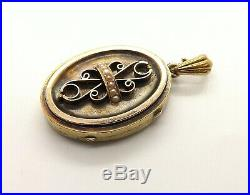 Large Antique 14K Gold Victorian Seed Pearl Locket Pendant 14.7 Grams