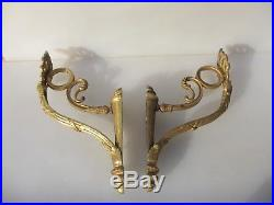 Large Antique Brass Curtain Pole Holders Brackets Victorian Old 1800's Chateau