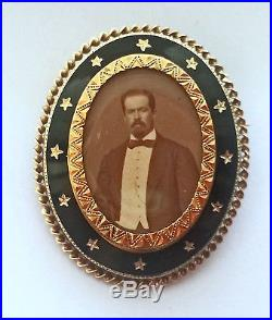 Large Antique French Victorian C-1850 18k Gold Enamel Mourning Locket Pin Brooch