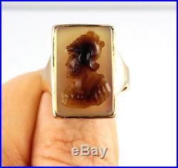 Large Antique Men's Gents Victorian 9Ct Gold Signet Ring Agate Cameo Of Warrior