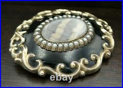 Large Antique Victorian 10K Gold Mourning Brooch, Onyx, Pearls & French Hair Art