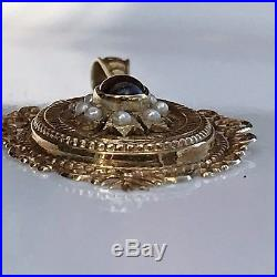Large Antique Victorian 14k 585 Gold Tiered Garnet Pearl Seed Pendant 2.25 5gr