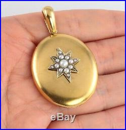 Large Antique Victorian 15Ct Gold And Pearl Locket Pendant c 1860's