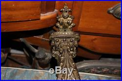 Large Antique Victorian 3 Arm Candelabra Wall Sconce Light Fixture-#1-Crystals
