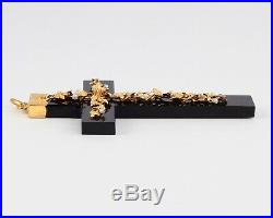 Large Antique Victorian 9Ct Gold, Onyx and Pearl Cross Pendant c 1880's