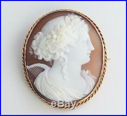 Large Antique Victorian 9Ct Gold Shell Cameo Brooch Of Euterpe The Muse Of Music