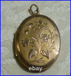 Large Antique Victorian 9ct Gold Floral Oval Hinged Locket Pendant 3.8g 28mm Box