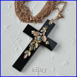 Large Antique Victorian Onyx Cross Turquoise 9ct gold bale Long muff guard chain