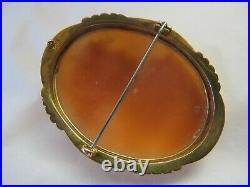 Large Antique Victorian Portrait Musician Shell Cameo Brooch Pin 9ct Gold