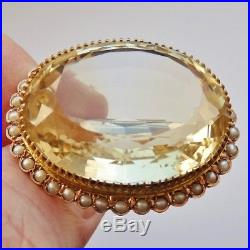 Large Antique Victorian Scottish 9ct Gold Citrine & Seed Pearl Brooch c1885