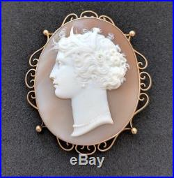 Large Antique Victorian Shell Cameo 9ct Gold Brooch Pin Hera