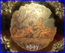 Large Cobalt Blue & Gold 16 Vase Classical Victorian Scene Made In Italy