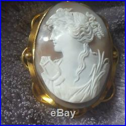 Large Fine, Victorian, Gold Real Carved Shell Cameo Brooch