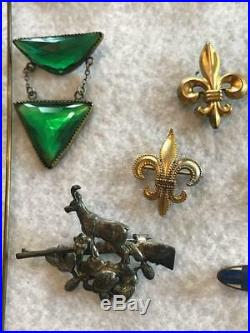 Large Lot Antique Victorian Jewelry Gold Filled Bar Pins Brooch Hat Pins Fobs