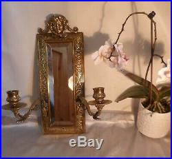 Large MID Victorian Brass Wall Sconce With Mirror-quality Highly Decorated-c1850