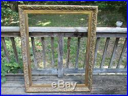 Large Ornate Baroque Victorian French STYLE Gold Heavy Carved Wood Picture Frame