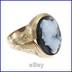 Large Oval Agate Cameo 1880s Antique Victorian Cocktail Ring 10k Yellow Gold