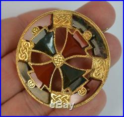 Large & Rare 1866 Victorian Scottish Agate and Gold Brooch d1876