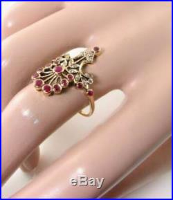 Large Stunning 9k Gold Victorian Ins Indian Ruby & Diamond Ring