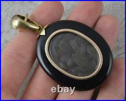 Large Victorian 15ct Gold Onyx Pearl IMO Mourning Locket Pendant & Fitted Box
