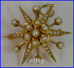 Large Victorian 15ct Gold & Seed Pearl Star Shaped Pendant p1879
