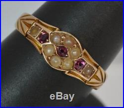 Large Victorian 15ct Rose Gold Ruby & Pearl Stack Band Ring t0271