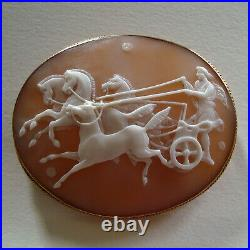 Large Victorian Carved Shell Cameo Of Phaeton & Horses In Later 9ct Gold Brooch