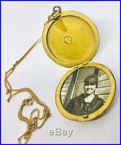 Large Victorian G. F. Locket on 10k Solid Gold Chain Ornate Mono Antique Jewelry