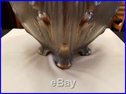 Large Vintage Footed Green/Gold Ceramic LADYS BUST FOR HANDLES Painted Planter