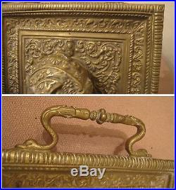 Large antique 1800's Victorian gold gilded bronze ornate dual inkwell desk tray